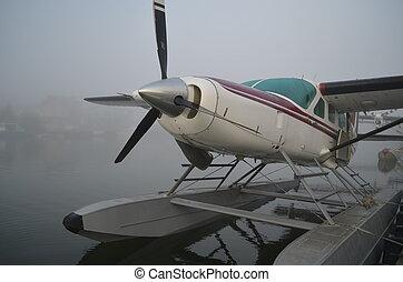 浮飛机, 在, the, 霧
