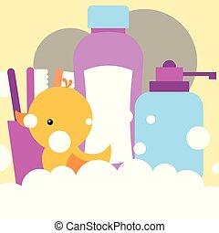 浴室, おもちゃ, 液体, シャンプー, ゴムカモ, ディスペンサー, 石鹸, 歯ブラシ