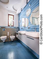 浴室, ∥で∥, 青, タイル, そして, 鏡