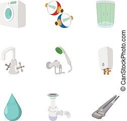 浴室, アイコン, セット, スタイル, 装置, 漫画