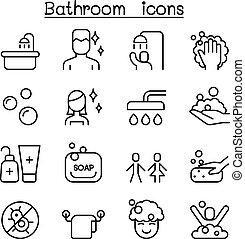 浴室, アイコン, セット, 中に, 薄いライン, スタイル