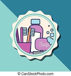 浴室, シャンプー, びん, 泡, 旗, 石鹸, 歯ブラシ