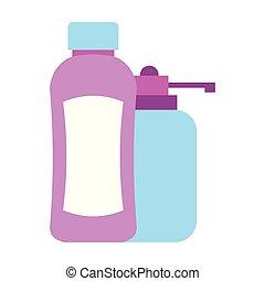浴室, シャンプー, びん, 液体, 石鹸