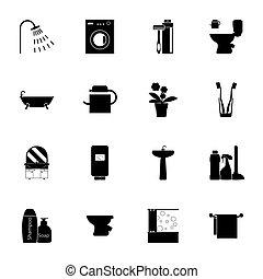 浴室, シルエット, アイコン, セット