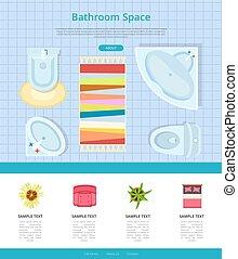 浴室, スペースイラスト, ベクトル, デザイン, 内部