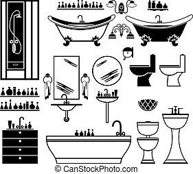 浴室, セット, 黒, アイコン