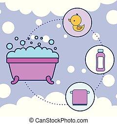 浴室, タオル, シャンプー, ゴムカモ, 浴槽