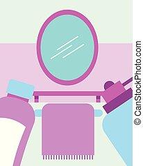 浴室, タオル, シャンプー, 鏡, ディスペンサー, 石鹸