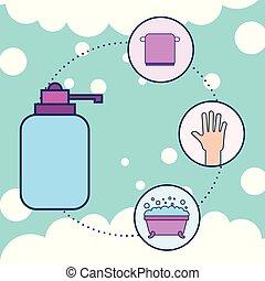 浴室, タオル, 液体, 手, びん, 浴槽, 石鹸