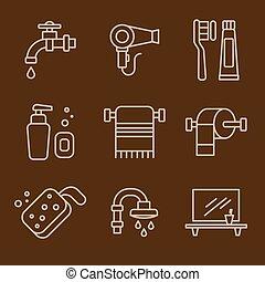 浴室, ベクトル, セット, アイコン
