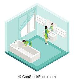 浴室, 人们, 描述, 打扫