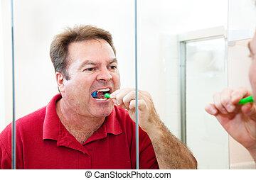 浴室, 人, ブラシをかけること, 彼の, 歯