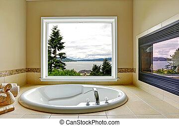 浴室, 光景, 暖炉, 贅沢, 湾