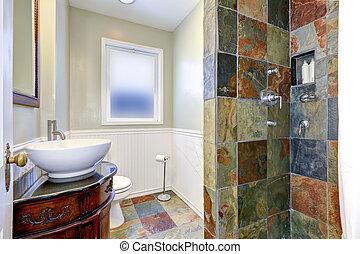 浴室, 內部, iwth, 鮮艷, 瓦片, 牆, 修剪