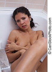 浴室, 女, ヌード, モデル