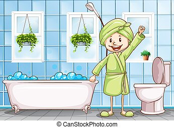 浴室, 女