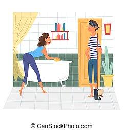 浴室, 妇女, 家庭, 妻子, 一起, 地板, 年轻, 描述, 浴缸, 矢量, 打扫, 扫荡, 家, 周末, 丈夫, 人