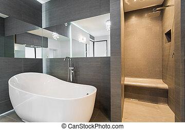 浴室, 带, 浴缸, 同时,, 阵雨