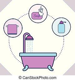 浴室, 浴槽, タオル, 石鹸, 液体