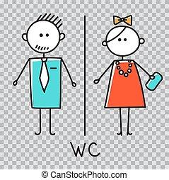 浴室, 男性, レストラン, 印, 買い物, restroom, カフェ, icon., 女性, トイレ, プレート, ドア, 印。, wc, 中心, プレート。