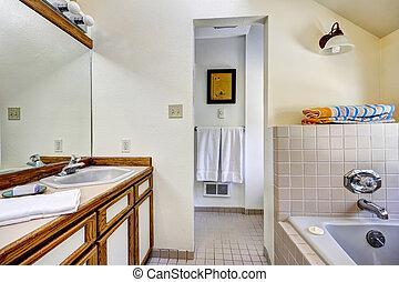 浴室, 虚栄心, キャビネット, ∥で∥, ブラウン, トリム, そして, 大きい, 鏡