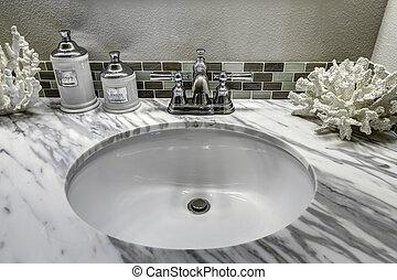 浴室, 虚栄心, キャビネット, ∥で∥, 白, 花こう岩, top., 流し, そして, decorat