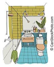 浴室, illustration., カラフルである, 現代, スケッチ, 手, ベクトル, 内部, 引かれる, design.