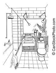 浴室, illustration., 現代, スケッチ, 手, ベクトル, 内部, 引かれる, design.