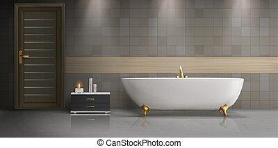 浴室, mockup, 現実的, ベクトル, デザイン, 内部