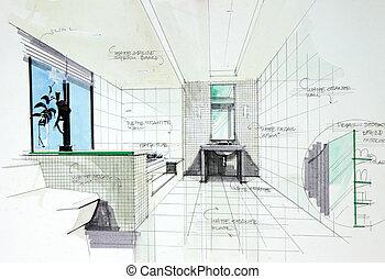 浴室, perspetive, 内部, 手, 引かれる