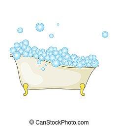 浴槽, 隔離された, 漫画, 背景, 白, 泡, 泡