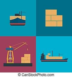 海の貨物, 出荷, アイコン, セット