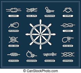 海事, ロープ, 結び目, セット