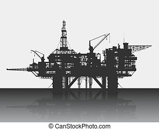 海原, sea., 詳しい, 海, rig., ベクトル, プラットホーム, illustration., オイル