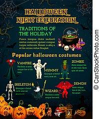海報, 恐怖, 南瓜halloween, 慶祝