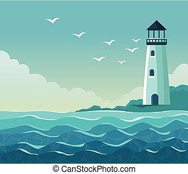海報, 燈塔, 海邊, 鮮艷, 海岸