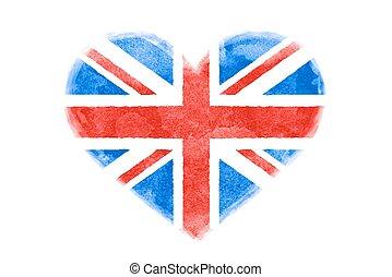 海報, ......的, 水彩, 心形狀, 美國, 美國, 旗