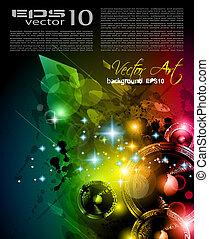海報, 背景, elements., 俱樂部, 迪斯科, 國際, 跳舞, 理想, 設計, 做廣告, 簽, 飛行物, 音樂, 事件, panels.