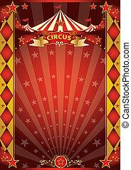 海報, 馬戲, 紅色, 金, 菱形