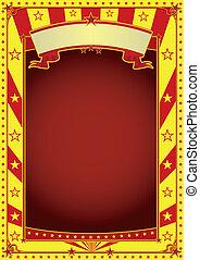 海報, 馬戲, 紅黃色