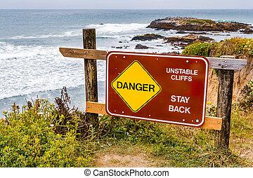"""海岸線崖, 印, 崖, 滞在, 地すべり, """"danger, 不安定, 太平洋, 危険, back"""", カリフォルニア, 区域, 海洋, 浸食された, 公表された"""