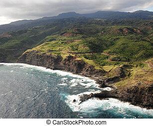 海岸線, の, ハワイ