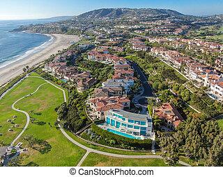 海岸線, 君主, 航空写真, 浜, 光景