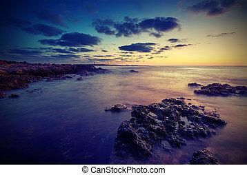海岸, ∥において∥, sunset., 型, スタイル