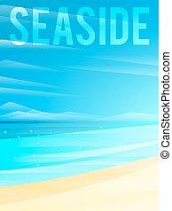 海岸, イラスト, ライト, eps10., clouds., 砂, ベクトル, 簡単にされている, 背景