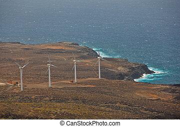 海岸, タービン, 風, 海洋