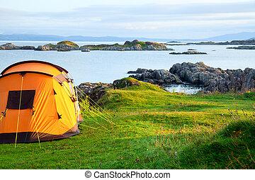 海岸, テント, キャンプ, 海洋