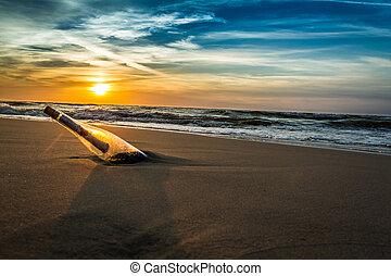 海岸, メッセージ, 海, びん