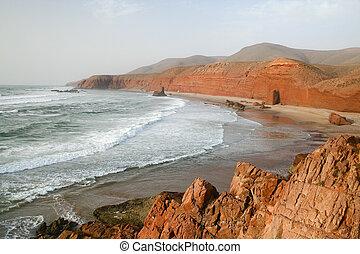 海岸, 在中, 大西洋, ocean., 摩洛哥