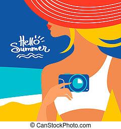 海岸, 夏, 背景, シルエット, 女, 美しい